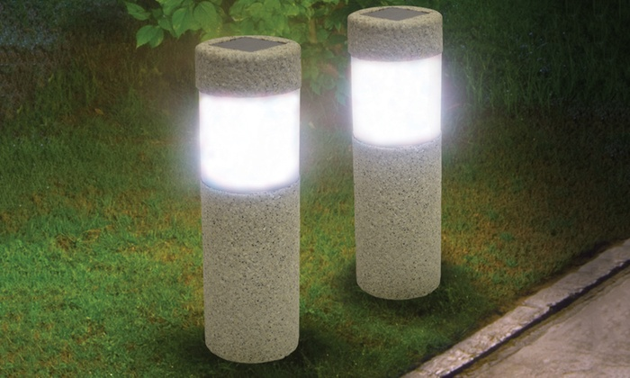 Two Stone Look Pillar Garden Lights: Two Stone Look Pillar Garden Lights ...