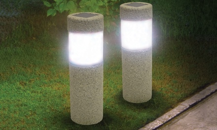 Two Stone-Look Pillar Garden Lights