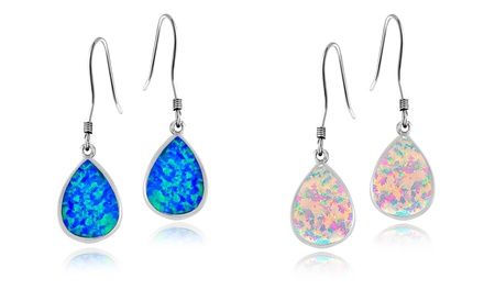 Created Opal Teardrop Dangle Earrings in Sterling Silver