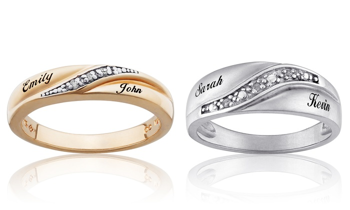 Limogès Jewelry: Personalized Diamond Accent Wedding Bands in Sterling Silver or 18K Gold Plated Sterling Silver (69% Off)
