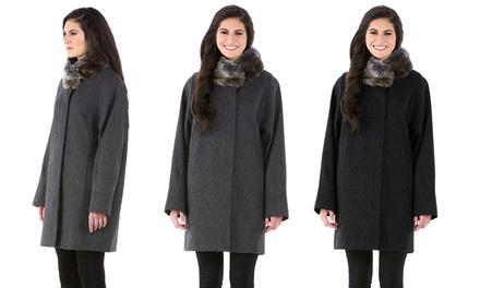 Jones New York Wool Coat with Faux-Fur Collar