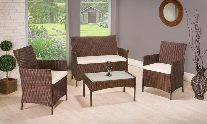 Rattan Garden Furniture Groupon all weather 4-piece furniture set | groupon goods