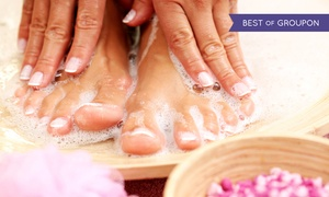 The Glam house: French or Coloured Mani-Pedi with Optional Crystal Spa Treatment at The Glam House (Up to 59% Off)