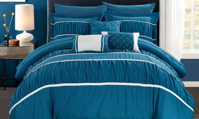 Chic Home Pleated Ruffled Bed in a Bag Comforter Set 10 Piece