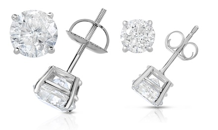 Valentine's Price Drop: 1/2-4 CTTW Certified Diamond Studs in 14K White Gold