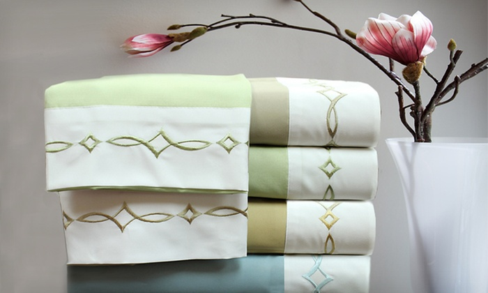 Vicenza Embroidered Microfiber Sheet Set: $25 for a Vicenza Four-Piece Embroidered Microfiber Sheet Set (Up to 72% Off). Multiple Options Available.