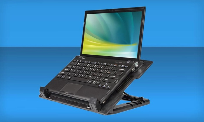 Merkury Cooling Laptop Stand: Merkury Innovations Laptop Cooling Base Stand with Metal Mesh Surface