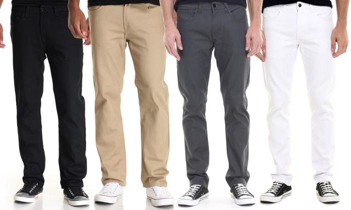 56% Off on Akademiks Men's Slim Twill Pants | Groupon Goods