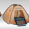 Pet Store Cat Litter-Box Privacy Tent with Mesh Ramp