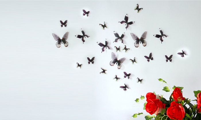 18 farfalle 3d adesive da muro groupon goods - Tavole adesive 3d prezzi ...