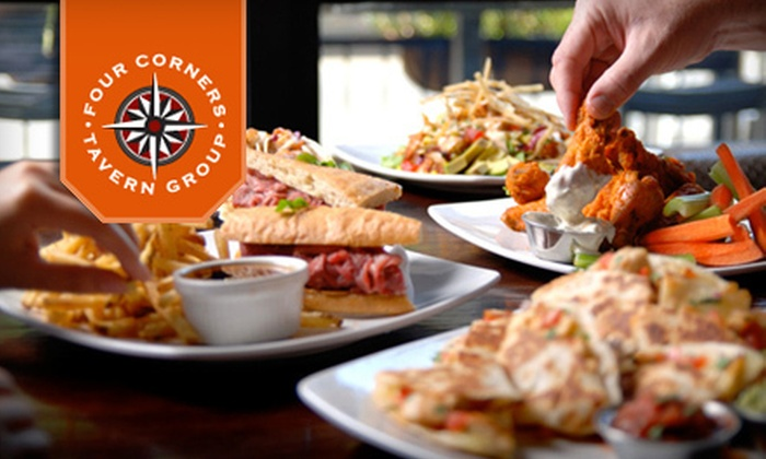 Four Corners Tavern Group - Multiple Locations: $10 for $20 Worth of Upscale Pub Food and Drinks from Four Corners Tavern Group