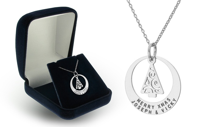 SilvexCraft Design: One or Two Custom Engraved Christmas-Tree Pendant Necklaces from SilvexCraft Design (Up to 76% Off)