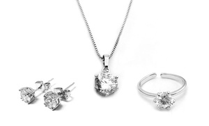 Necklace, Ring, And Stud Earrings Set With Swarovski Elements