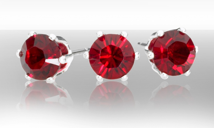 Ruby Stud Earrings with Swarovski Crystals: 1 or 3 Pairs of Ruby Stud Earrings with Swarovski Crystals (Up to 95% Off). Free Returns.