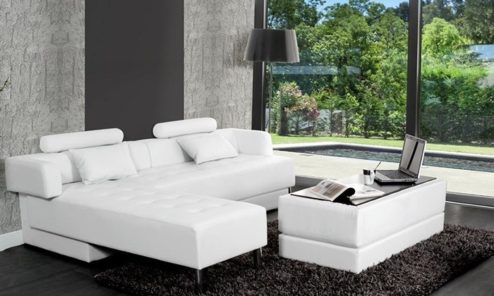 Canap d 39 angle r versible groupon shopping - Canape d angle convertible avec pouf ...