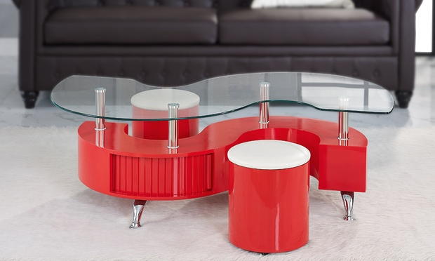 Madrid s coffee table with stools groupon goods for Table 52 botswana