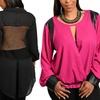 Women's Plus-Size Long-Sleeve Blouse