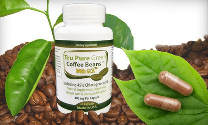 Tru Pure Green Coffee Bean Extract with GCA: 30-, 60-, or 90-Day Supply of Tru Pure Green Coffee Bean Extract with GCA and 45% Chlorogenic Acid (Up to 67% Off). Free Shipping.