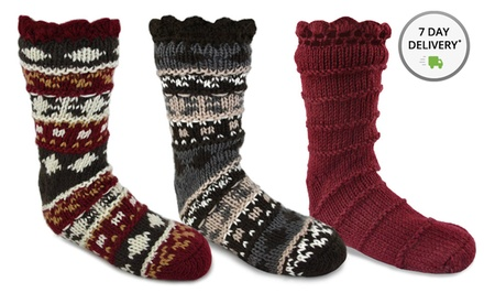Muk Luks Women's Crotchet Cozy Socks. Multiple Options Available.