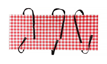 Wrap & Strap Red and White Gingham Picnic Tablecloth with Straps