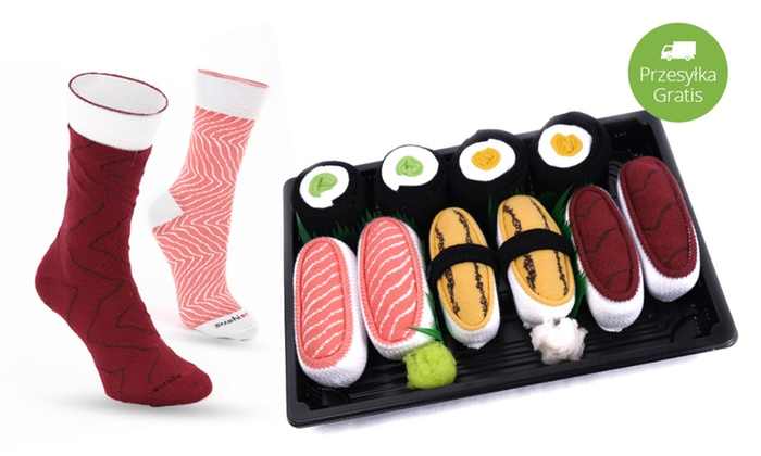 Jemsushi.pl Sp. z o.o.: Od 39,99 zł: zestaw oryginalnych, bawełnianych skarpetek Sushi Socks Box – 5 zestawów w 2 rozmiarach