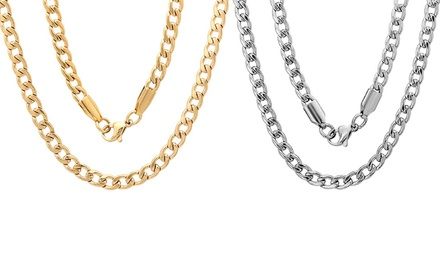 Men's Link and Figaro Chain Necklaces in Stainless Steel, 18k Gold Plated or Black Ion Plated Stainless Steel