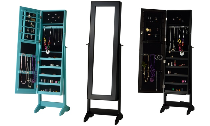 Lovely Free Standing Jewelry Armoire With Mirror: Free Standing Jewelry Armoire  With Mirror ...