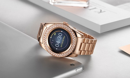 Silver, Gold or Rose Gold Timothy Stone Smartwatch with 90 Crystals from Swarovski® With Free Delivery