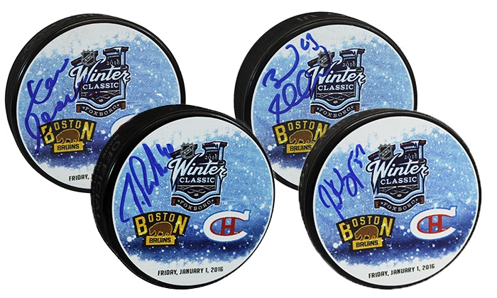 Your Sports Memorabilia Store - Boston: Autographed Bruins Winter Classic Pucks from Yoursportsmemorabiliastore.com (32% Off). Nine Players Available.