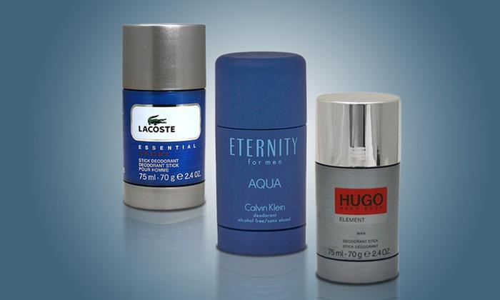 Men's Scented Deodorant Sticks: Men's Scented Deodorant Sticks by Calvin Klein, Hugo Boss, or Lacoste