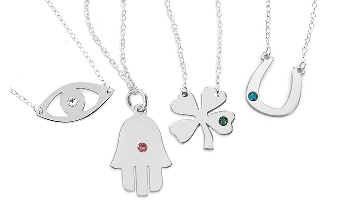 Monogram Online: Silver Personalized Necklaces from Monogram Online (Up to 93% Off). Three Options Available.