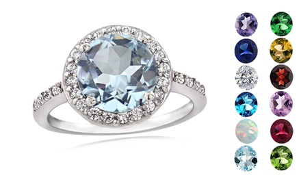 Round-Cut Gemstone & Cubic Zirconia Sterling Silver Rings