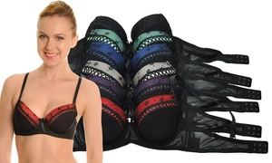 Angelina Black Bras with Contrast Trim (6-Pack)