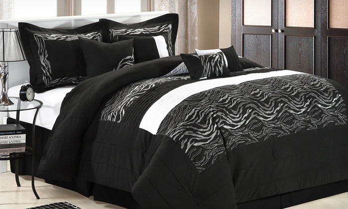Chic Home 8-Piece Comforter Sets: Chic Home 8-Piece Comforter Sets in Queen or King (Half Off). Multiple Designs Available. Free Shipping and Returns.