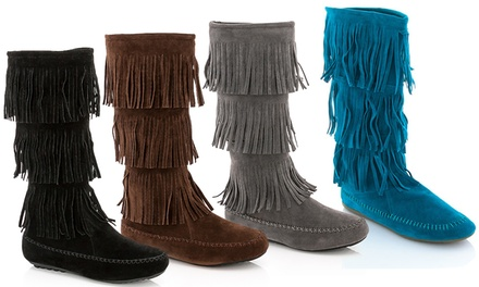 Rasolli Women's Fringed Moccasin Boot