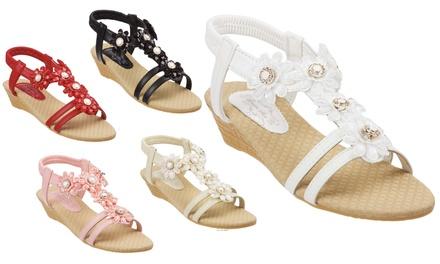 Women's Wedge Sandals with Jewelled Gemstones