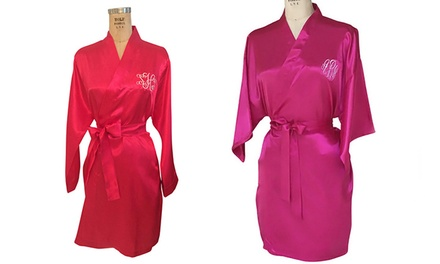 $25.99 for a Custom Monogrammed Satin Robe from Social Monograms ($52 Value)