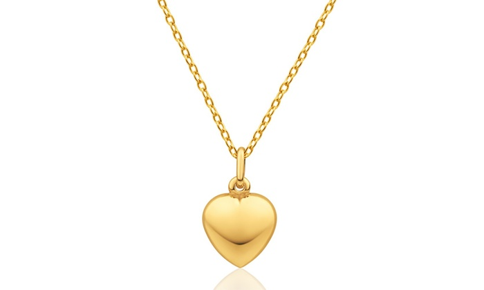 14k solid gold heart pendant groupon goods 14k solid gold puff heart pendant aloadofball Images