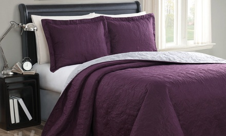groupon daily deal - 3-Piece Embossed Reversible Coverlet Sets. Multiple Colors and Sizes. Free Returns.