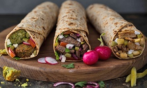 Just Falafel: Three or Five Groupons, Each Good for $8 Worth of Falafel, Shawarma, and Gyro at Just Falafel (Up to 46% Off)