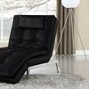 Verona Black Bonded Leather Chaise