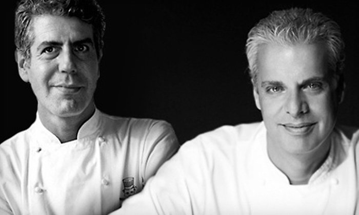 """Good vs. Evil: Anthony Bourdain and Eric Ripert"" - Downtown Toronto: ""Good vs. Evil: An Evening with Anthony Bourdain and Eric Ripert"" at Sony Centre for the Performing Arts on May 4"
