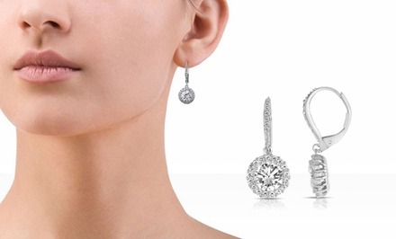 RelavenO 10-Carat Simulated Diamond Dangle Earrings with Platinum Plating or 18-Karat Rose Gold Plating