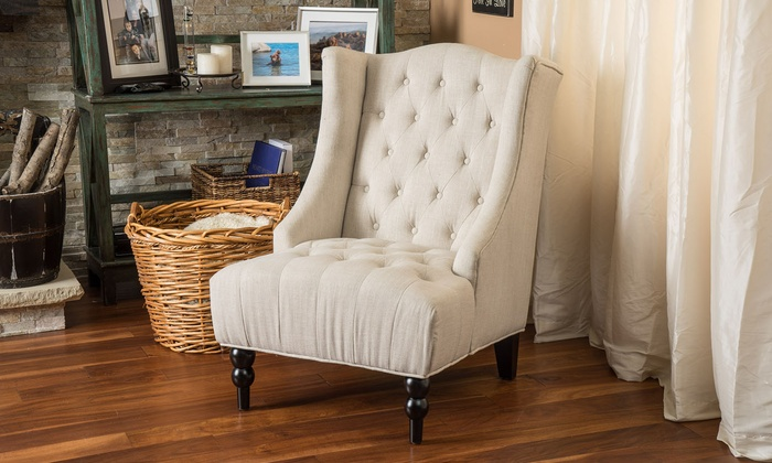 Superbe Clarice Tall Wingback Tufted Fabric Accent Chair