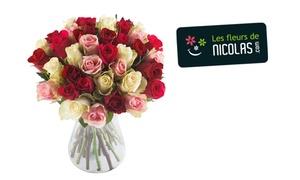 Les Fleurs de Nicolas: Fête des Mères : un bouquet Tout Doux ou Tutti Frutti de 40, 50 ou 60 roses chez Les Fleurs de Nicolas dès 19,90 €