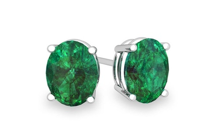 2.00 CTW Genuine Oval Cut Emerald Stud Earrings in Solid Sterling Silver