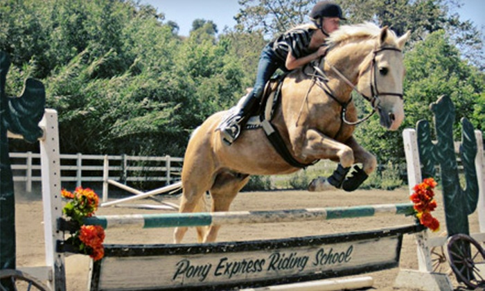 Pony Express Riding School - Fallbrook: Two or Four 60-Minute Group Horseback-Riding Lessons at Pony Express Riding School (Up to 54% Off)