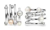 Anillo Tower bañado en oro blanco con perlas y cristales