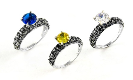Genuine Marcasite and Cubic Zirconia Rings in Sterling Silver