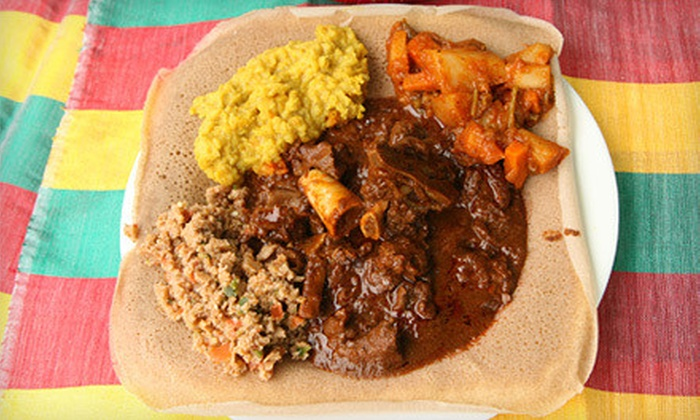 Aster's Ethiopian Restaurant - St. Edwards: Ethiopian Cuisine at Aster's Ethiopian Restaurant (Up to 52% Off). Two Options Available.